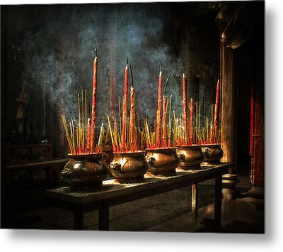 Metal Print featuring the photograph Burning Incense by Lucinda Walter