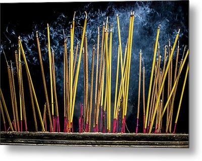 Burning Joss Sticks Metal Print by Hitendra SINKAR