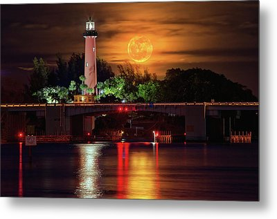 Burning Moon Rising Over Jupiter Lighthouse Metal Print