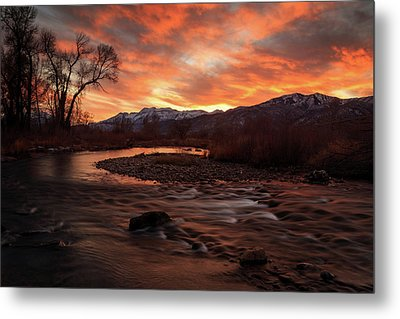 Metal Print featuring the photograph Burning Sunset Above The Provo River. by Johnny Adolphson