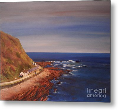 Metal Print featuring the painting Burnmouth Scotland by Beatrice Cloake
