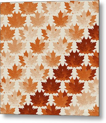 Metal Print featuring the digital art Burnt Sienna Autumn Leaves by Methune Hively