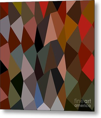 Burnt Umber Abstract Low Polygon Background Metal Print by Aloysius Patrimonio