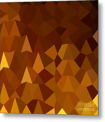 Burnt Umber Brown Abstract Low Polygon Background Metal Print by Aloysius Patrimonio