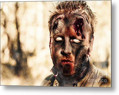 Burnt Zombie Standing In Smouldering Horror Forest Metal Print by Jorgo Photography - Wall Art Gallery