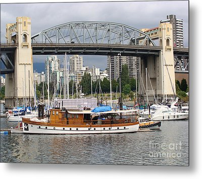 Metal Print featuring the painting Burrard Street Bridge, Vancouver by Rod Jellison