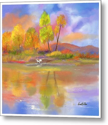 Metal Print featuring the painting Burst Of Autumn by Sena Wilson