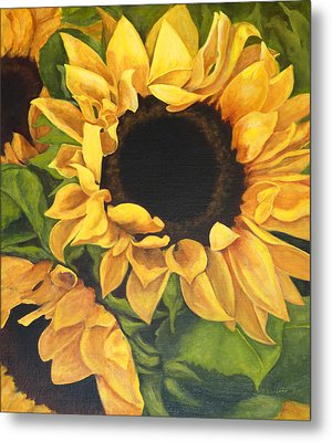 Metal Print featuring the painting Burst Of Sunflowers by Sandra Nardone