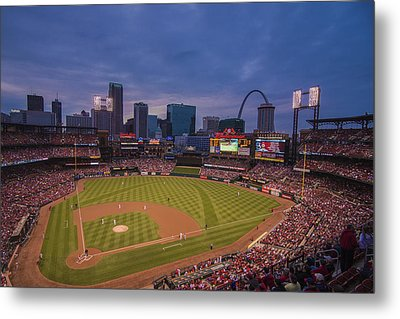 Busch Stadium St. Louis Cardinals Ball Park Village Twilight #3c Metal Print by David Haskett