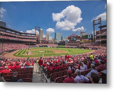Busch Stadium St. Louis Cardinals Cardinal Nation Ballpark Village Day #2a Metal Print by David Haskett