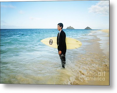 Business Man At The Beach With Surfboard Metal Print by Brandon Tabiolo - Printscapes
