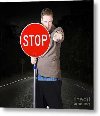 Business Man Holding Road Stop Sign Metal Print