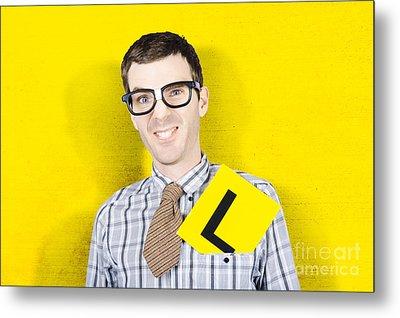 Business Man Starting First Day With L Plates Metal Print by Jorgo Photography - Wall Art Gallery