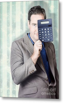 Business Person Hiding Behind Cash Calculator Metal Print by Jorgo Photography - Wall Art Gallery
