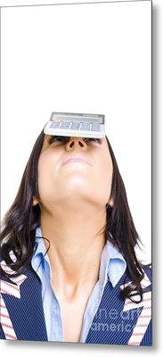 Business Woman Balancing Finance Accounts Metal Print by Jorgo Photography - Wall Art Gallery