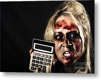 Business Woman With Calculator. Halloween Sale Metal Print by Jorgo Photography - Wall Art Gallery