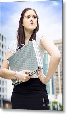 Business Woman With Dreams Aspirations And Goals Metal Print by Jorgo Photography - Wall Art Gallery