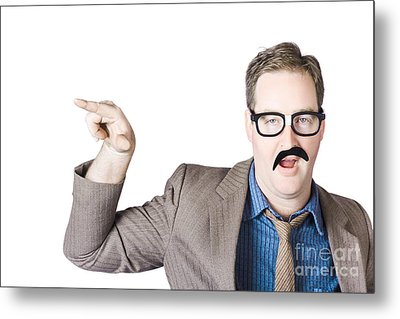 Businessman Gesturing With Finger Metal Print by Jorgo Photography - Wall Art Gallery