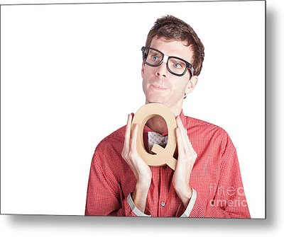 Businessman Holding Q For Question Metal Print