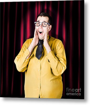 Businessman In Performance Review Spotlight Metal Print by Jorgo Photography - Wall Art Gallery