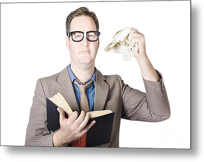 Businessman Tearing Pages From Book Metal Print by Jorgo Photography - Wall Art Gallery