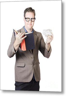 Businessman With Book And Crumpled Paper Metal Print by Jorgo Photography - Wall Art Gallery
