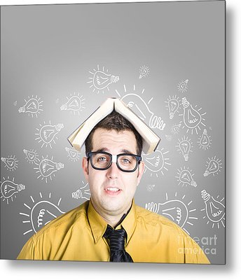 Businessman With New Education Idea Metal Print
