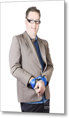 Businessman With Tied Hands Metal Print by Jorgo Photography - Wall Art Gallery