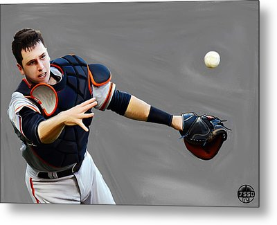 Metal Print featuring the painting Buster Posey by Jeff DOttavio