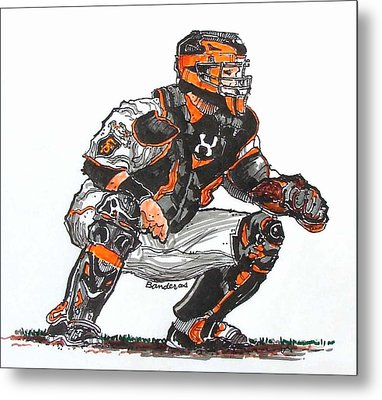 Metal Print featuring the painting Buster Posey by Terry Banderas