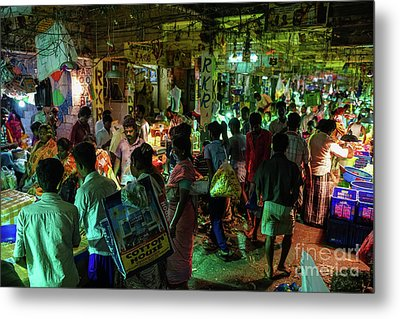 Metal Print featuring the photograph Busy Chennai India Flower Market by Mike Reid