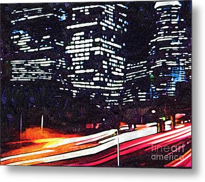 Busy City At Night Metal Print by Deborah MacQuarrie-Selib
