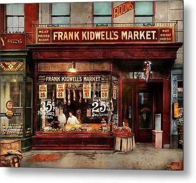 Metal Print featuring the photograph Butcher - Meat Priced Right 1916 by Mike Savad
