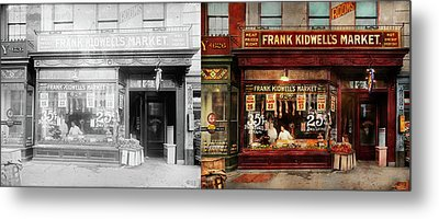 Metal Print featuring the photograph Butcher - Meat Priced Right 1916 - Side By Side by Mike Savad