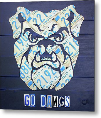 Butler University Indiana Bulldogs Mascot License Plate Art Logo Metal Print by Design Turnpike