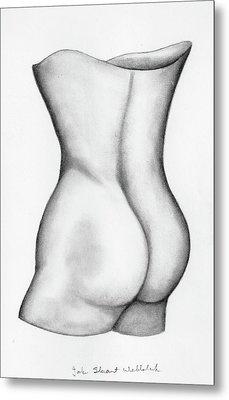 Metal Print featuring the drawing Butt Of A Study by John Stuart Webbstock