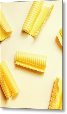 Butter Curls On White Background Metal Print
