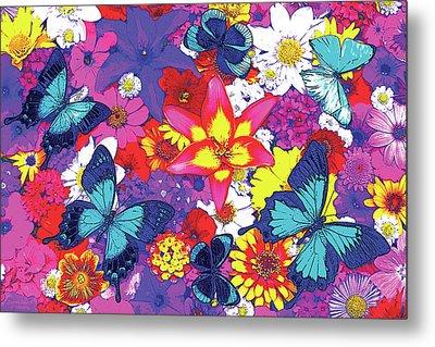 Butterflies And Flowers Metal Print by JQ Licensing
