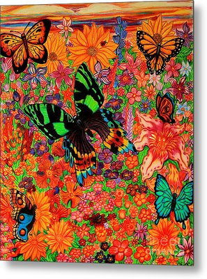 Butterflies And Flowers Metal Print by Nick Gustafson