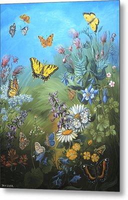 Butterflies And Wildflowers Of Wyoming Metal Print