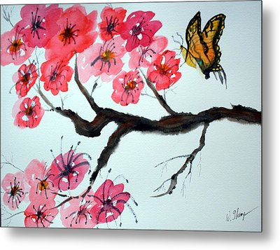 Butterfly And Blossoms Metal Print