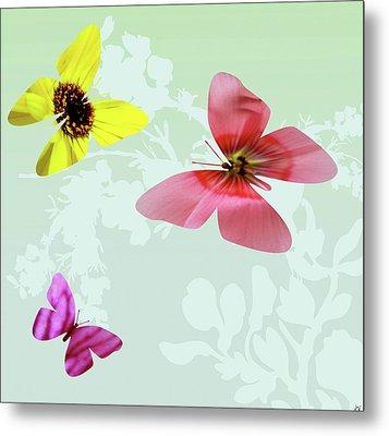 Butterfly Floral  3 Metal Print by Debra     Vatalaro