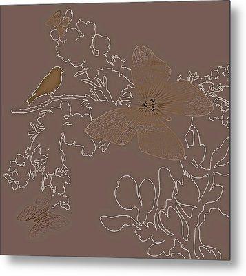 Butterfly Floral  9 Metal Print by Debra     Vatalaro