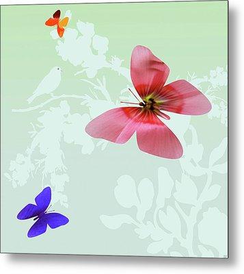 Butterfly Floral Metal Print by Debra     Vatalaro