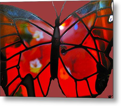 Butterfly Florals  Collection B Metal Print by Debra     Vatalaro