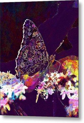 Metal Print featuring the digital art Butterfly Flower Summer Forage  by PixBreak Art