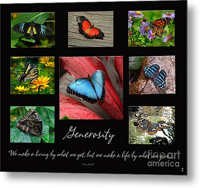 Metal Print featuring the photograph Butterfly Generosity Collage by Diane E Berry