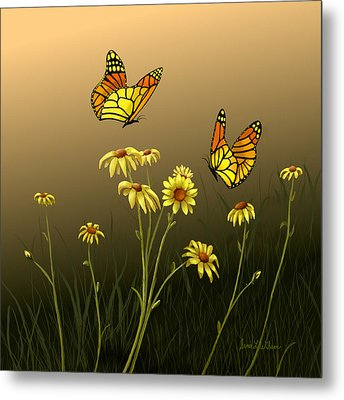 Metal Print featuring the painting Butterfly Haven by Sena Wilson