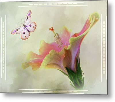 Butterfly Hibiscus Art II Metal Print