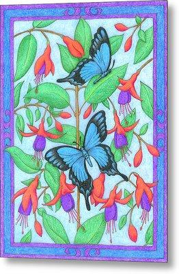 Butterfly Idyll-fuchsias Metal Print